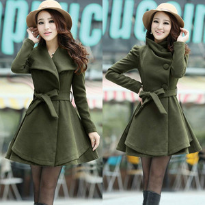 Womens Wool Blend Coat Lapel Belt Winter Jacket Dress Long Parka