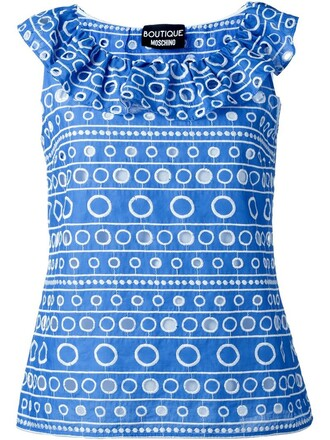 tank top top embroidered blue