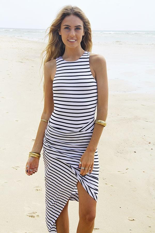 Black & white asymmetrical ruched maxi dress