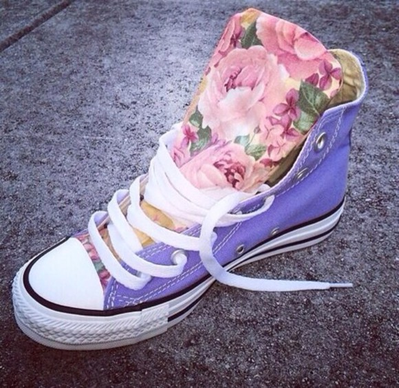 floral shoes converse high tops converse purple shoes