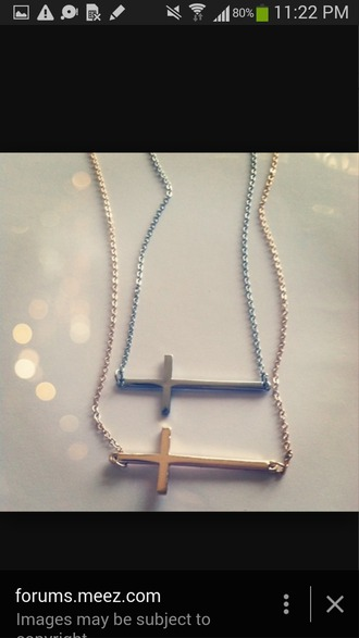 jewels cross necklace silver gold