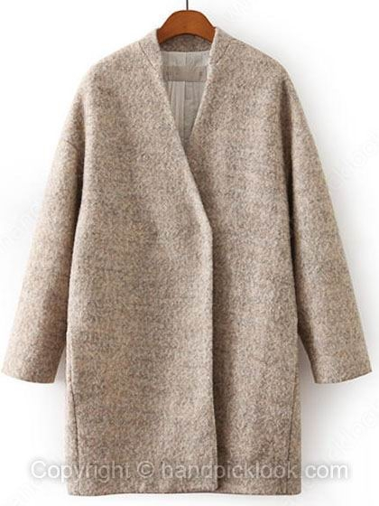 Beige Collarless Long Sleeve Coat - HandpickLook.com