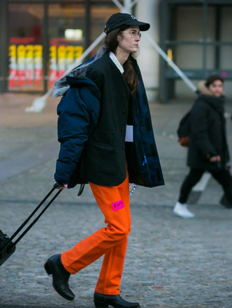 pants tumblr orange boots black boots ankle boots mid heel boots scarf striped scarf jacket black jacket puffer jacket black blazer blazer cap streetstyle