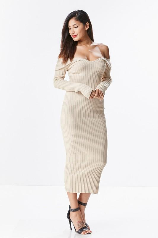 Soft Taupe Off The Shoulder Knit Midi Dress