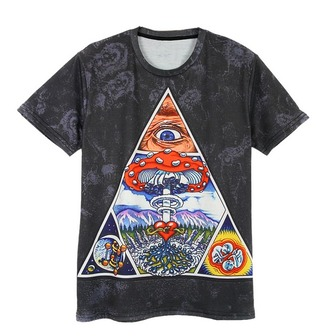 shirt grey t-shirt triangle shrooms
