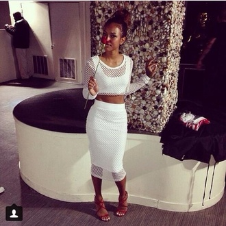 t-shirt white crop tops mesh bodycon skirt long sleeves party sexy midi skirt skirt shoes white dress white netted midi skirt