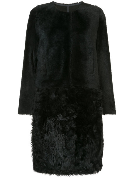 Yves Salomon coat fur coat oversized fur women black