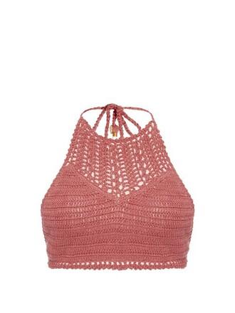 bikini bikini top crochet bikini crochet dark pink swimwear