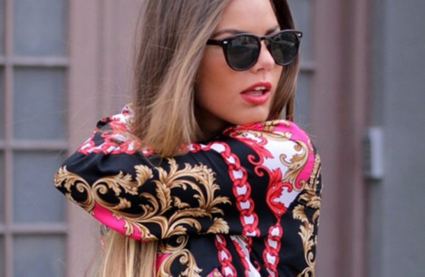 blouse red style chain gold black hipster classy dress dress to impress sweater sunglasses