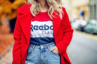 t-shirt tumblr quote on it striped top stripes coat red coat denim jeans blue jeans