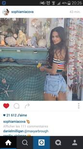 shorts,coulour top,short,blue jean shorts,sophiamiacova,instagram,top,top blogger lifestyle,hippie,festival,stylish,instagram models,instagram famous,sophia miacova,shirt