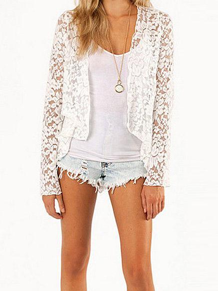 White lace long sleeve asymmetrical sheer cardigan coat