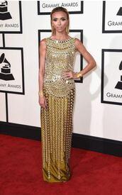 dress,gown,gold,giuliana rancic,grammys 2016,metallic,red carpet dress