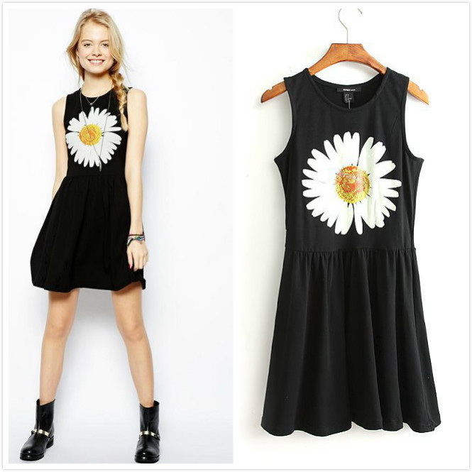 Summer 2014 Sleeveless Scoop Neckline Stretch Jersey Sunflower Floral Daisy Print Ball Gown Pleated Mini Skater Dress for Women-in Dresses from Apparel & Accessories on Aliexpress.com