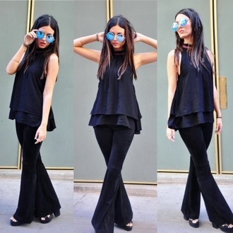 blouse victoria justice top black hippie indie hipster women