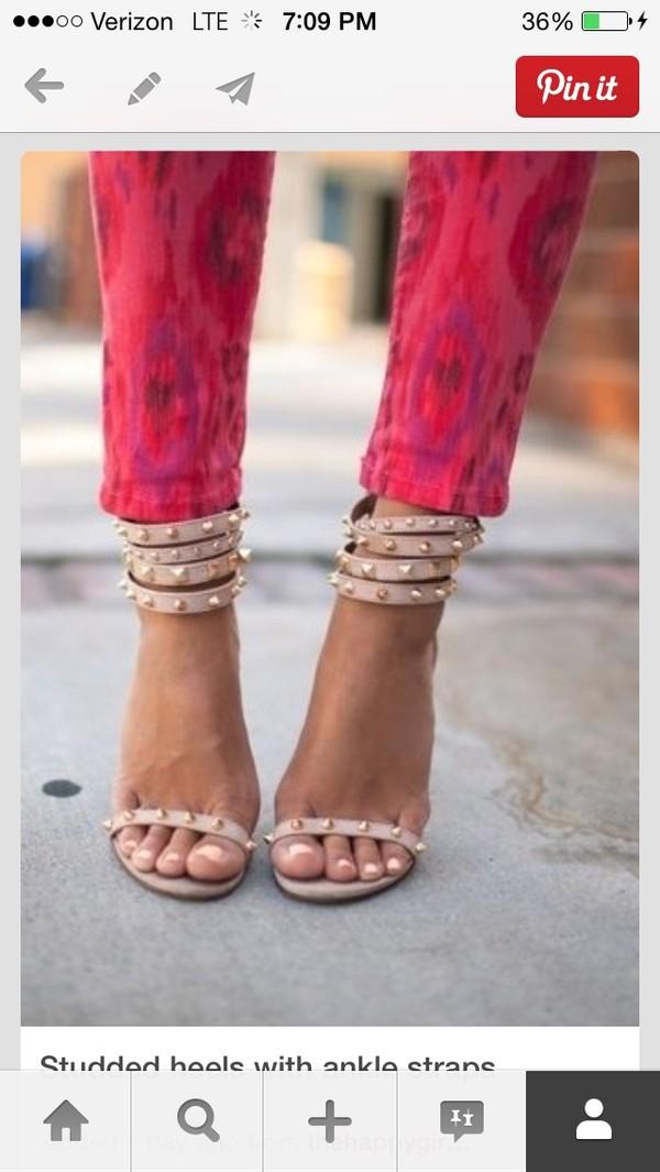 shoes high heels studs sandals beige nude heels