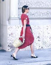 dress,dior,tumblr,red dress,short sleeve dress,shoes,kitten heels,slingbacks,bag,basket bag,sunglasses