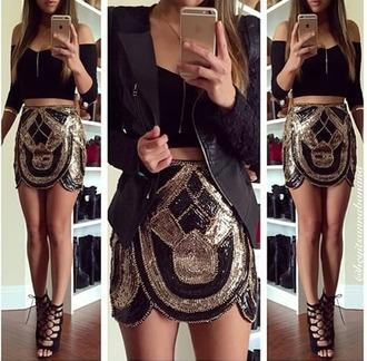 skirt sequin sequin skirt gold shirt shoes