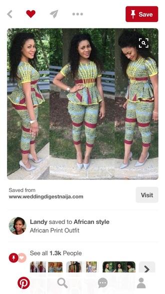 pants african print jumpsuit peplum top