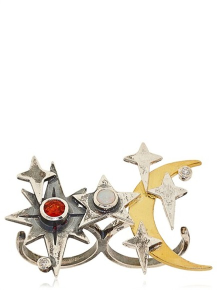 jewels double ring silver maria nilsdotter moon and stars