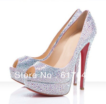 New Fashion Women High Platform Peep Toe Crystal Wedding High Heels Red Bottom Rhinestone Pumps-in Pumps from Shoes on Aliexpress.com