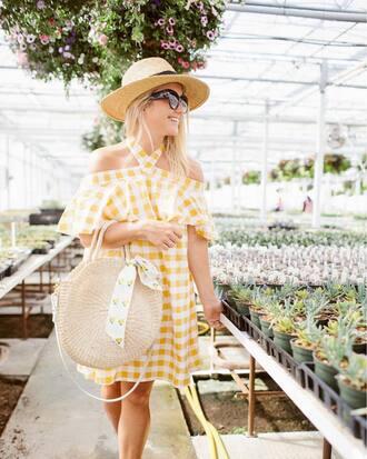 dress hat tumblr gingham yellow yellow dress mini dress sun hat bag round bag round tote sunglasses shoes gingham dresses
