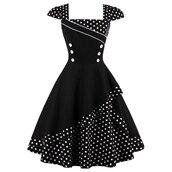 dress,midi dress,black and white,polka dot dress,vintage dress,buttoned dress