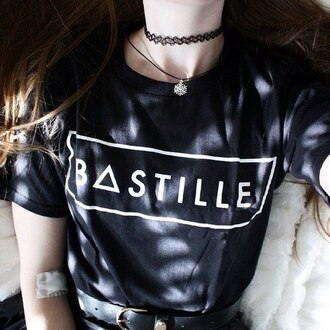 t-shirt black tshirt. bastille shirt black shirt band t-shirt indie music girl black t-shirt jewels band grunge top blck w/white cute cute top white