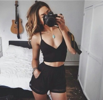 romper black top black shorts outfit tumblr outfit summer top jumpsuit black jumpsuit shorts top