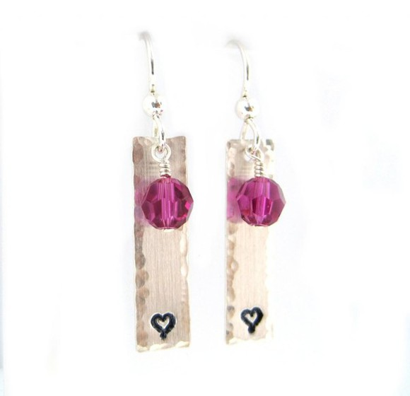 jewels earrings heart engraved silver stone