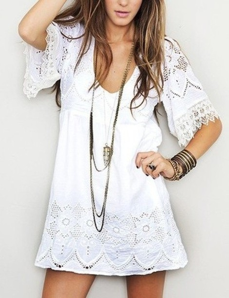 d10c1c17621 dress white dress cute floral dress lace dress white clothes tunic lace  country summer lacey dress