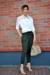 let's talk about fashion !,blogger,white shirt,purse,khaki pants,office outfits,handbag,pants
