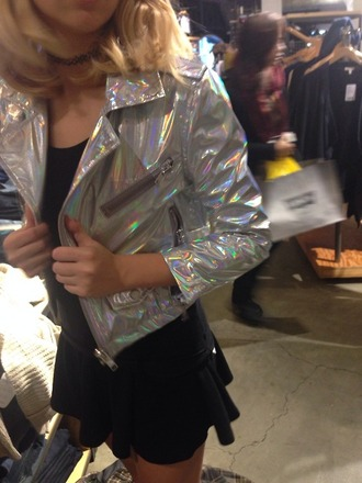 jacket fashion from asia zip iridescent silver iridescent