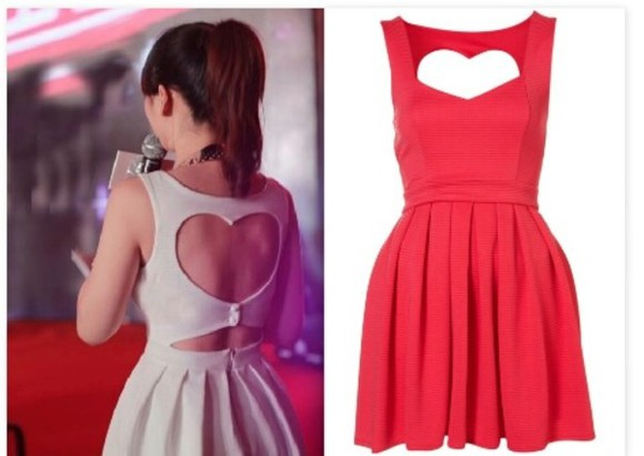 dress tan dress red dress heart really adorable