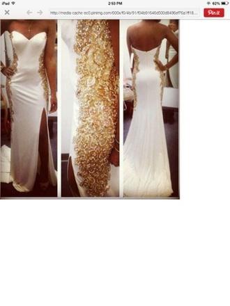 dress white with gold beading sweetheart neckline long train leg slit