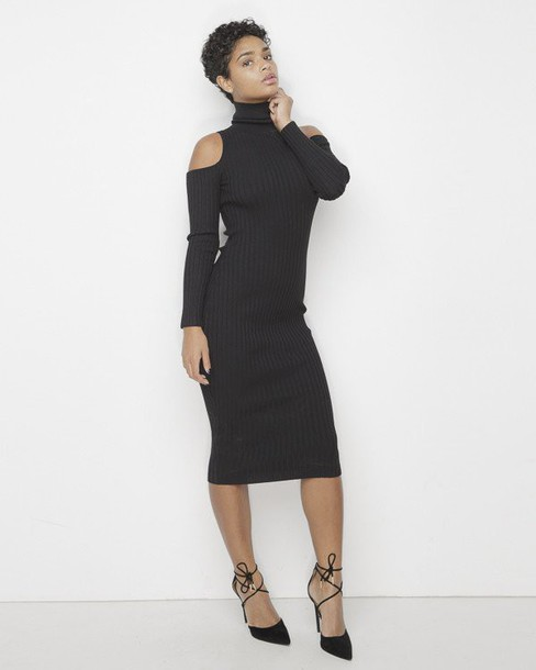 Open Shoulder Dress with Sleeves
