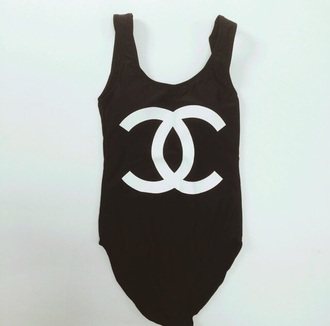 swimwear bodysuit black bodysuit chanel chanel logo print