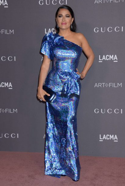 dress salma hayek gown prom dress sequins sequin dress one shoulder