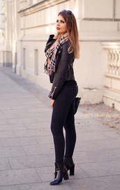 a piece of anna,blogger,bag,pants,shoes,scarf,jacket,sunglasses,jewels