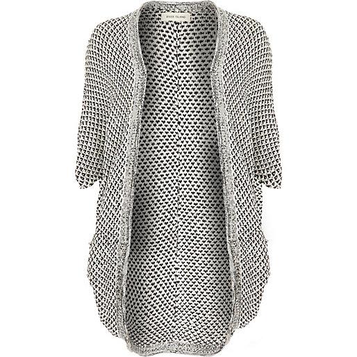 White and black 3/4 sleeve cocoon cardigan