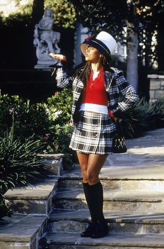 sweater stacey dash skirt jacket blouse bag hat clueless dress gloves cardigan plaid skirt grey skirt