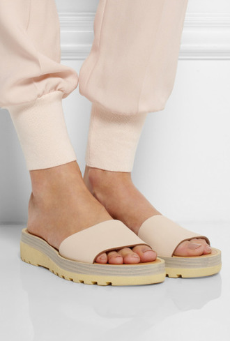 shoes peach nude slide shoes sandals flats