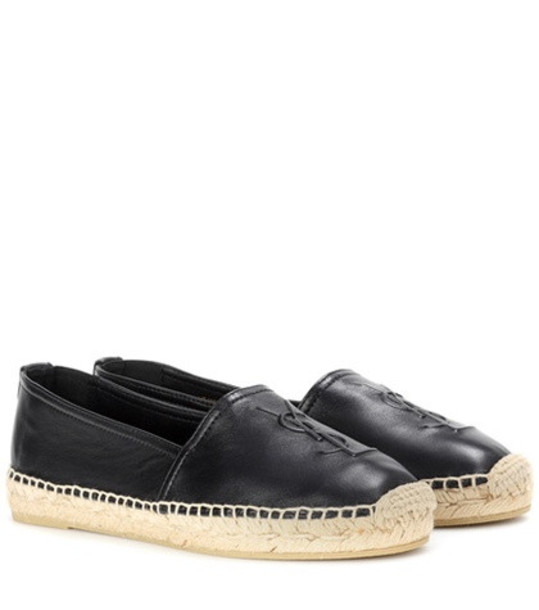 Saint Laurent Leather slip-on loafers in black