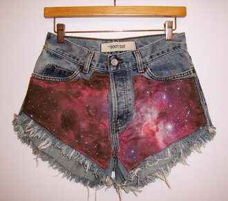 summer shorts high waisted denim shorts festival frayed shorts levi's cut offs galaxy print space stars cosmic clothes nebula galaxy shorts