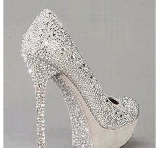 Shoes: prom, silver, sparkle, heels, silver shoes - Wheretoget