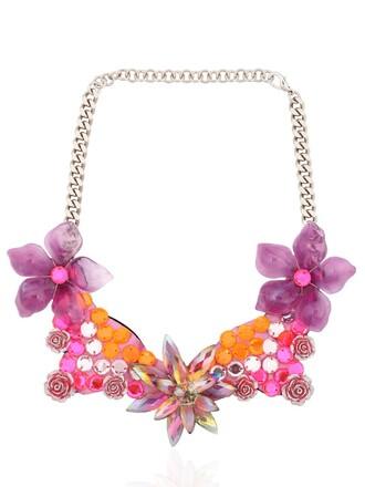 necklace floral pink orange jewels