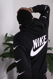 sweater,hoodie,sweatshirt,black,nike,streetwear,pullover,black and white,coat,nike air,nike sweater,blouse,menswear,jacket,Casio,plants,nike running shoes,nike sneakers,top,tumblr outfit,black sweater,swoosh,white,back print,logo,nike hoodie,earphones,swimwear,black nike sweater