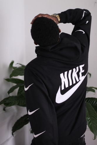 sweater hoodie sweatshirt black nike streetwear pullover black and white coat nike air nike sweater blouse menswear jacket casio plants nike running shoes nike sneakers top tumblr outfit black sweater swoosh white back print logo nike hoodie earphones swimwear black nike sweater