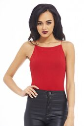 top,red top,red shirt,red tank top,elastic straps,plain tank top,www.ustrendy.com