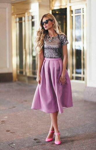 skirt pink satin pink satin skirt cat eye midi skirt pink midi skirt satin skirt sequin top statement necklace pink pumps ankle strap pumps ankle strap heels
